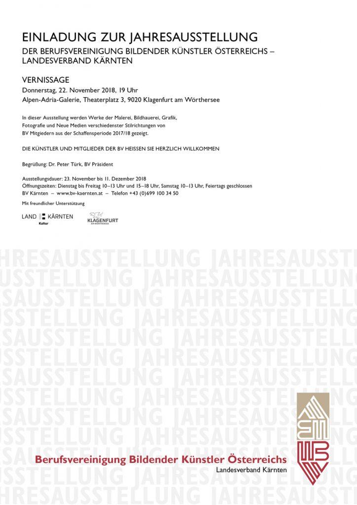 Einladung zur BV-Jahresausstellung 2018 in der Alpen-Adria-Galerie Klagenfurt
